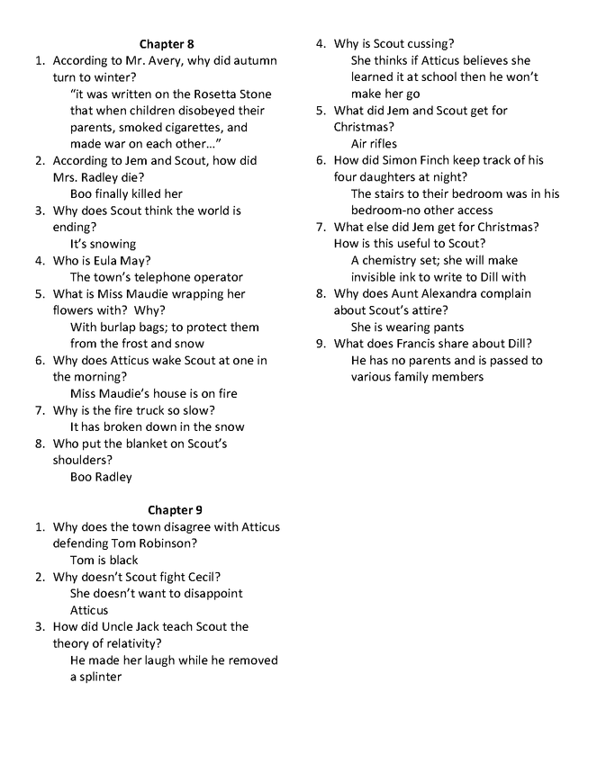 to kill a mockingbird study guide questions chapters 22 25
