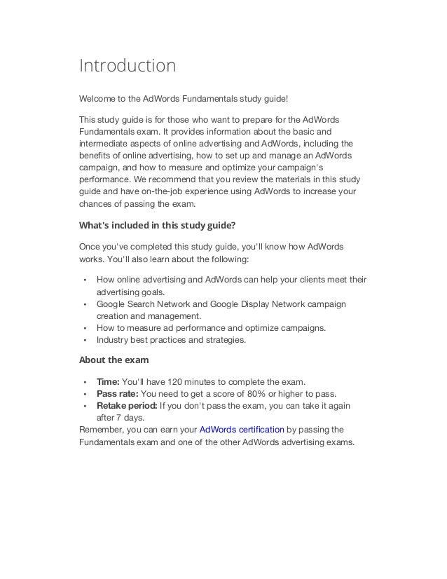 adwords fundamentals exam study guide