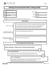 setting financial goals note taking guide