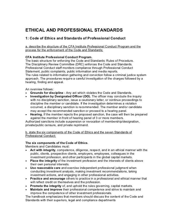 cfa level 1 ethics study guide