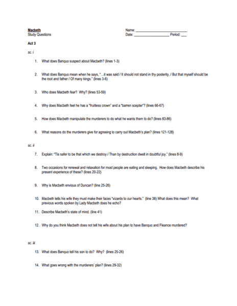 macbeth act 3 study guide quizlet