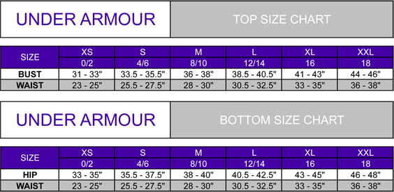 under armour size guide womens