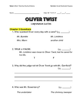 oliver twist study guide pdf