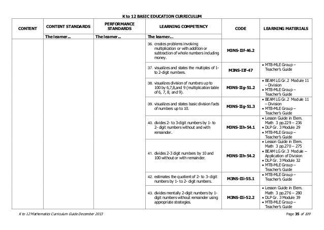 grade 1 math curriculum guide