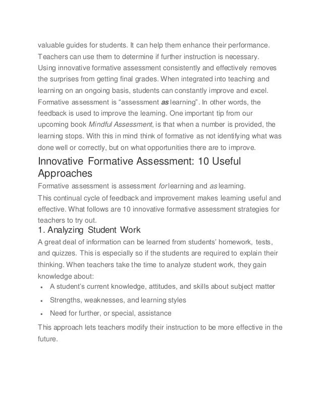 how to use formative assessment to guide instruction
