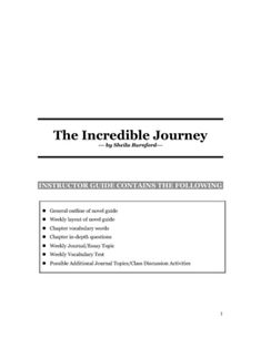 the incredible journey novel study guide answers